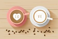 Kawowej pary filiżanki odgórny widok, latte kochanka serca na wierzchołku i kawa, Obrazy Stock