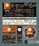 Kawowej piekarnia sklepu kawiarni menu projekta ustalony szablon Zdjęcia Royalty Free
