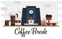 Kawowej przerwy płaski projekt Filiżanka set kawowego kawa espresso ujawnienia długi maszynowy fotografii przygotowania proces Zdjęcie Royalty Free