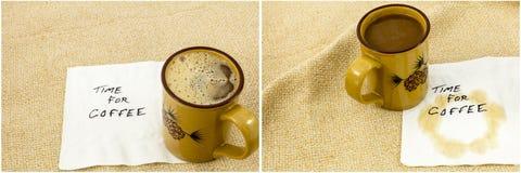 Kawowej przerwy pieluchy plamy kolaż Obraz Stock