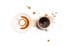 Kawowej upadek plamy wypadkowy biały tło Zdjęcie Stock