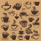Kawowi elementy lub logowie Obrazy Stock