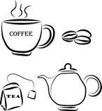 Kawowi i herbaciani elementy Obraz Stock