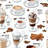 Kawowi typ bezszwowy wzór Zdjęcie Royalty Free