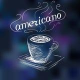 Kawowy americano doodle Ilustracji