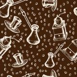 Kawowy bezszwowy wzór, tureckiej kawy garnek, machinalny ostrzarz Zdjęcia Royalty Free