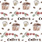 Kawowy bezszwowy wzór ustawiający rysującym ręką fotografia royalty free