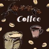 Kawowy bezszwowy wzór ustawiający rysującym ręką zdjęcie royalty free
