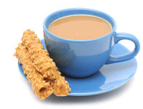 kawowy ciastek filiżanki mleko Fotografia Royalty Free