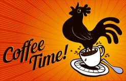 Kawowy czas! Kogut skacze od filiżanki royalty ilustracja