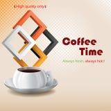 Kawowy czasu projekta tło z filiżanką kawy Zdjęcia Stock