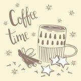 Kawowy czasu tekst Kawa, cynamon i goździk, Ilustracji