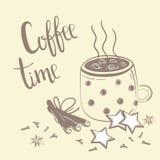 Kawowy czasu tekst Kawa, cynamon i goździk, Royalty Ilustracja
