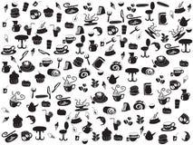 kawowy doodle deseniuje bezszwowej herbaty Fotografia Stock