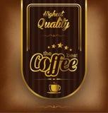 Kawowy etykietka projekt nad rocznika tłem Obraz Royalty Free
