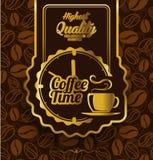 Kawowy etykietka projekt nad rocznika tłem Fotografia Royalty Free