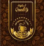 Kawowy etykietka projekt nad rocznika wzoru tłem Obrazy Royalty Free