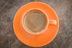 kawowy gorący stołowy drewniany Obraz Royalty Free