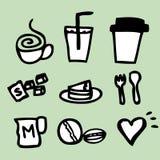 Kawowy ikona rysunek Fotografia Royalty Free
