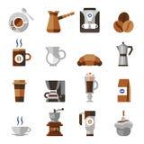 Kawowy ikony mieszkania set ilustracji