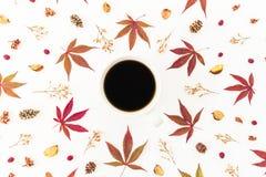 Kawowy kubek i rama robić na białym tle jesień liście i suszący kwiaty Mieszkanie nieatutowy, odgórny widok, kopii przestrzeń Zdjęcia Stock