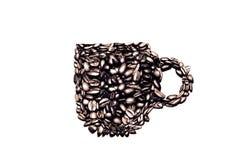 Kawowy kubek robić od kawowych fasoli, B&W Zdjęcie Stock