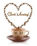 Kawowy kubek z kawowych fasoli kształtującym sercem z dnia dobrego znakiem Obraz Stock