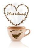 Kawowy kubek z kawowych fasoli kształtującym sercem z dnia dobrego znakiem Zdjęcie Royalty Free