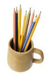 Kawowy kubek z ołówkami Zdjęcie Royalty Free