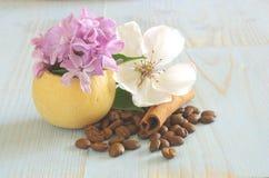 Kawowy kwiatu wciąż życia tło Zdjęcie Stock