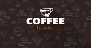 Kawowy loga teksta tła wektor Doskonalić projekt dla nagłówka i sztandar, Zdjęcie Royalty Free