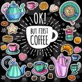 Kawowy modny wektoru set Obrazy Royalty Free