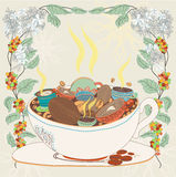 Kawowy okwitnięcie ilustracji