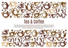 Kawowy plakat z filiżankami i czajnikami ilustracji