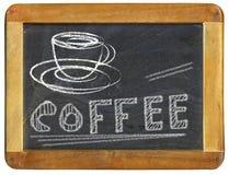 Kawowy reklama projekta szablon na blackboard, sklepu z kawą menu, bezpłatnej kopii przestrzeń fotografia stock