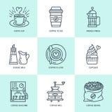 Kawowy robić, warzy wyposażenie wektoru linii ikony Elementy - coffeemaker, francuz prasa, ostrzarz, kawa espresso, filiżanka, fa royalty ilustracja
