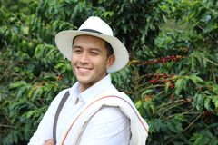 Kawowy rolnik w polach zdjęcia royalty free