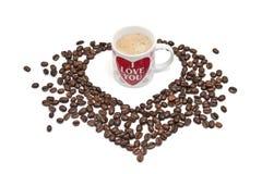 kawowy serce Obrazy Stock