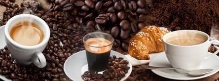 Kawowy sztandaru kolaż Zdjęcie Royalty Free