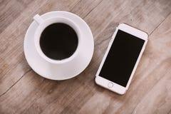 Kawowy telefonu biura wciąż życie Fotografia Stock