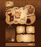Kawowy temat dla sieć szablonu Obrazy Royalty Free