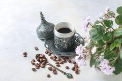 kawowy tradycyjny turkish kawa w orientalnym stylowym roczniku Obraz Royalty Free