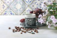 kawowy tradycyjny turkish kawa w orientalnym stylowym roczniku Obraz Stock