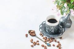 kawowy tradycyjny turkish kawa w orientalnym stylowym roczniku Fotografia Stock