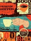 Kawowy typographical rocznika stylu grunge plakat Ręka trzyma filiżankę retro ilustracyjny wektora Zdjęcie Stock