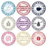 Kawowy ustawiający znaczki Obrazy Royalty Free