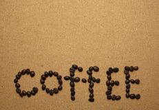Kawowych fasoli kawowi Angielscy słowa Obrazy Royalty Free