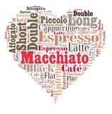 Kawowych napojów słów obłoczny kolaż zdjęcie royalty free
