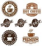 kawowych znaczków stylowy rocznik Fotografia Royalty Free
