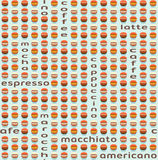 kawy bezszwowy deseniowy Stylizowany kawowych fasoli motyw Zdjęcia Royalty Free